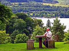 Absorbing Nature (edowds) Tags: trees man green nature grass bench scotland dumbarton lochlomond breathtaking flickrscorer22 ballochcountrypark 5bangs flickrchallengewinner flickrcallengegroup