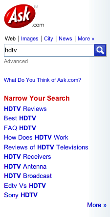 HDTV Refinements on ASK.com