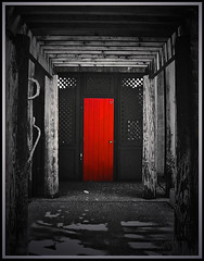 Beyond the Red Door (Jerri Johnson (away)) Tags: california door red blackandwhite bw rain museum topf50 nikon bravo searchthebest rustic chinese explore historical portal d200 puddles groovy soe bestofflickr oroville instantfave mywinner bigfave abigfave supershots shieldofexcellence anawesomeshot colorphotoaward ultimateshot superbmasterpiece ithinkthisisart diamondclassphotographer flickrdiamond excellentphotographer 75faves flickrextraordinarycapture excapture