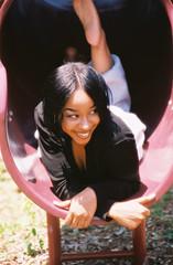 the glance... (ras cop) Tags: smile playground model pretty slide rascop marshadouglas euphonicrage