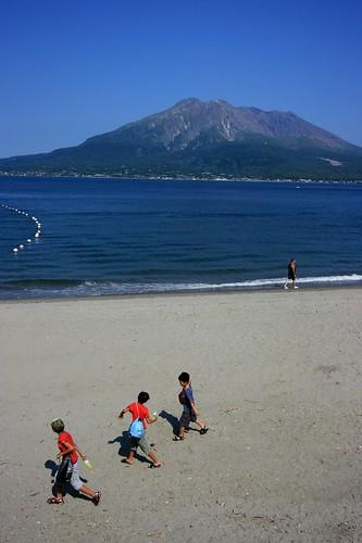 Sakurajima-mountain and sea