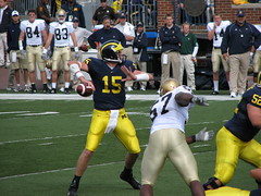 Throw Ryan, Throw! (bekahlp) Tags: football michigan quarterback pass annarbor notredame bighouse universityofmichigan collegefootball big10 ryanmallet