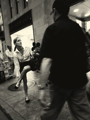 WAIT! (joewig) Tags: street nyc people urban blackandwhite bw woman shoe interestingness explore ricohgrd