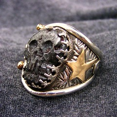 """""""ALEXANDER"""" Ring of destiny, (leespicedragon) Tags: original art silver dayofthedead skull gold star handmade vampire oneofakind ooak magic gothic jewelry cameo biker sterling spiritual magical gems forged fates metorite marvinleebillings greekring"""