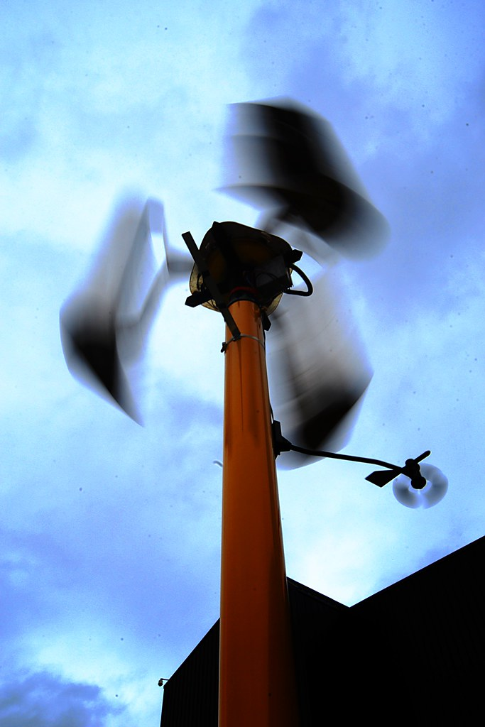 A weather station spinning in the wind.