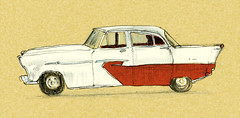 Car (Shaun_lynch) Tags: lynch illustration ink vintage drawings line shaving shaun coloured buik