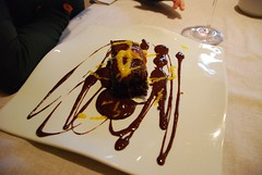 Spain: Dark chocolate cake with Sevilla orange sauce.