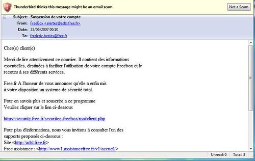 tentative nullissime d'hameçonnage par courrier électronique.