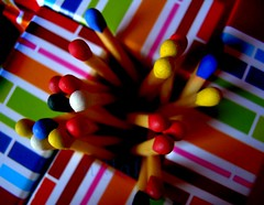 ways to start fire-part I (nyah74) Tags: pink blue red orange white colour green yellow closeup square aqua maroon object line match colourful matches 1on1colorfulphotooftheday verynyah 1on1colorfulphotoofthedayjuly2007