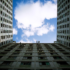 vanishing hongkong* open air (* tathei *) Tags: city blue sky cloud building public architecture canon island hongkong eos estate south low historic aberdeen housing nostalgic 5d dslr ef income squared vanish wongchukhang 1635mml