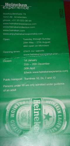 The Heineken Experience Entry Ticket Back