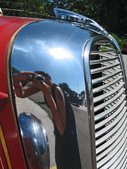Me! (cw3283) Tags: reflection cars me antique grill firetruck vehicles fender fin antiquecars antiquecarshow highlightandshadow boothscorner