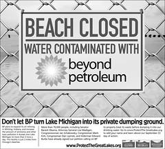Protect Lake Michigan! (spablab) Tags: chicago beach water poster illinois closed environmental indiana lakemichigan oil environment waste bp hazard epa whiting dumping chicagotribune contaminated britishpetroleum