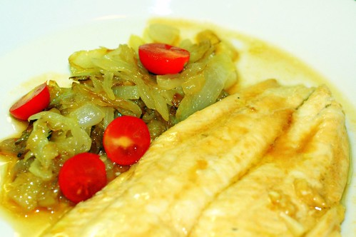 flounder with caramelized onions and our home-grown grape tomatoes