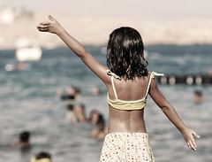 Hugged by the summer's coolant (Abdullah AL-Naser) Tags: blue sea summer vacation sky tourism beach swimming canon dance kid child dancing egypt cyan el egyptian sheikh ef sharm kuwaiti 30d 70200mm abdullah f28l alnaser