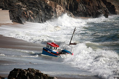 Cornwall Porthleven Rough Seas Boat Sinking (Michael Saunders Cornwall) Tags: sea bay coast boat seaside sand cornwall rough sinking seas porthleven