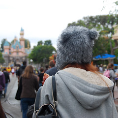 Wolf Woman with Turkey Leg (Angelasews) Tags: woman hat wolf disneyland turkeyleg