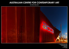Australian Centre for Contemporary Art (Victor Marz) Tags: panorama building horizontal architecture high twilight lowlight dusk australia melbourne landmark icon victoria structure southbank resolution sight acca largeprint australiancentreforcontemporaryart largeresolution