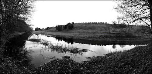 black and white landscape panorama