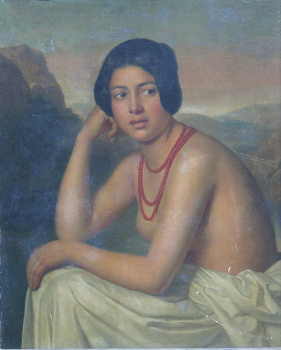A portrait of a bare-breasted young woman, wearing a red coral necklace with a white sheet across her lap, which sold for £5,800