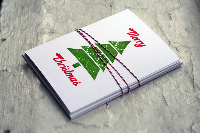 Red & Green Christmas Card with Tree