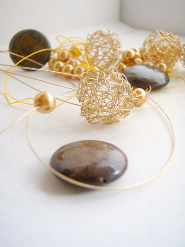 bronzite and gold wire beads