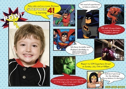 Comic Book Superhero Boy Girl Batman Spiderman Wonderwoman Superman Custom Birthday Invitation