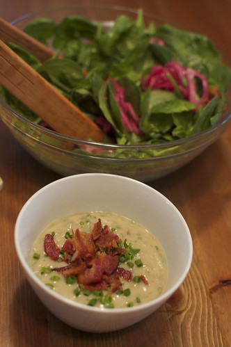 Sunchoke & Chive Soup with Spinach Salad