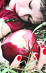 The Sleeping Death Sessions (3) (boopsie.daisy) Tags: sleeping red selfportrait me apple grass fairytale death hand heart fingers pale spell missy bite redlips grainy poison nailpolish snowwhite eyesclosed poisoned abigfave anawesomeshot flickrdiamond