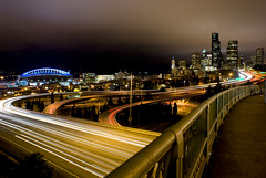 into the deep (Rachel-B) Tags: seattle city bridge skyline night dark landscape flow lights highway long exposure cityscape nightscape traffic i5 freeway rizal seattlest utata:color=black utata:project=uplandscape seattlestpix octphotoshow