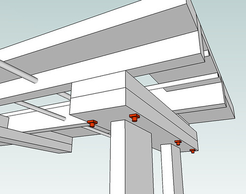 top and legs joined with bolts
