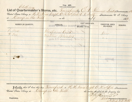 10th michigan infantry quartermaster report
