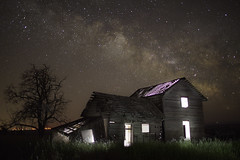 Visitors in the House (Ben Canales) Tags: old longexposure light mars house tree abandoned home window field grass night stars star washi