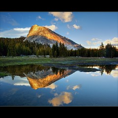 Lembert Dome Reflection (TomGrubbe) Tags: california trees sunset reflection rock clouds yosemite tuolumnemeadows easternsierras tiogapass lembertdome landscqape