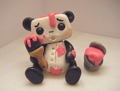 Painting Panda Bot (Sleepy Robot 13) Tags: pink urban cute art fun toy toys robot funny robots polymerclay fimo figurines clay gamer kawaii sculpey etsy urbanvinyl designertoys sculpy sleepyrobot13 videogamepanda