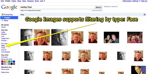 Google Images supports filtering by type: Face