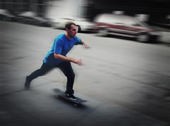 """The Fastest Man on a Skateboard"" (Sion Fullana) Tags: nyc blue people urban newyork blur speed action citylife streetshots streetphotography westvillage fast motionblur characters panning allrightsreserved actionshots newyorkers newyorklife iphone urbanshots bluetshirt urbannewyork iphone4 intentionalcameramovement iphonephotography iphoneshots iphoneography iphoneographer sionfullana editedanduploadedoniphone throughthelensofaniphone guyonaskateboard"