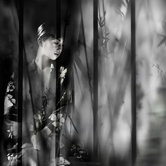 untitled . (helmet13) Tags: bw woman reflection raw curtain bamboo kimono shopwindow glasscase aoi d90 200faves world100f bestportraitsaoi