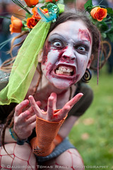 Bristol Zombie Walk 2010 - Fashion (LongLensPhotography.co.uk - Daugirdas Tomas Racys) Tags: flowers red people green halloween girl look fashion danger hair bristol dead death scary blood eyes dress action zombie teeth fingers attack makeup style event angry bite mass scare roar disease eyeballs gunk wounds infection zomby epidemic bristolzombiewalk2010