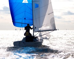 A Trail of Blue Color (IRainyDays) Tags: blue silhouette sailboat sailing maryland sail annapolis spinnaker chesapeake
