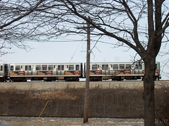 Eastbound CTA Orange line train. Chicago Illinois. January 2007.