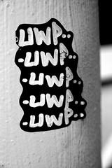 5xUWP is better (damonabnormal) Tags: bw art june graffiti stickerart 33 label graf stickers tags urbanart labels slap tagging 07 2007 slaps uwp citystickers streetstickers blackanswhite philadelphiastreetart philadelphiagraffiti stickerartists philadelphiaartist