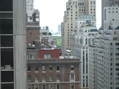 view from the hotel window--you can just see central park in the distance
