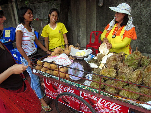 Ladies selling durian and other delights