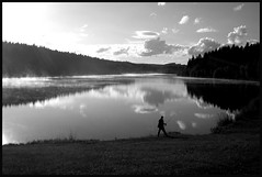 Time for fish.. (macacusopi) Tags: trees bw lake man clouds views peopleschoice aplusphoto ibeauty