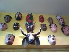 (Phone photo) Masks at Mexican folk art store, Cambridge, MA (Wayne Flower) Tags: mexico mexican mexicanfolkart cellphonephoto mexicanartmasks