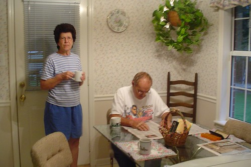 Mom and Cliff drinking a first cup of coffee - Jul 2, 2007