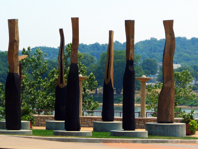 Wooden things at a park on the river.