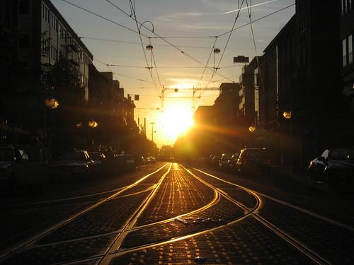 Sun setting over Mannheim, Switzerland