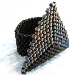 Shades of Black and Grey Triangle Peyote Ring